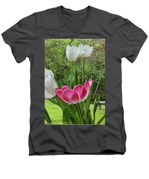 Men's V-Neck T-Shirt featuring the photograph Tulips by Bonnie Willis