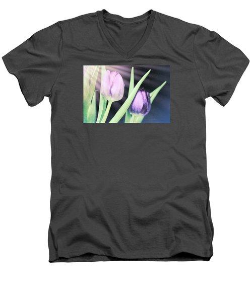 Tulips On Parade Men's V-Neck T-Shirt by Bonnie Bruno
