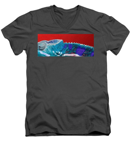 Turquoise Chameleon On Red Men's V-Neck T-Shirt by Serge Averbukh