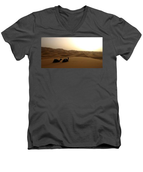 Two Camels At Sunset In The Desert Men's V-Neck T-Shirt by Ralph A  Ledergerber-Photography