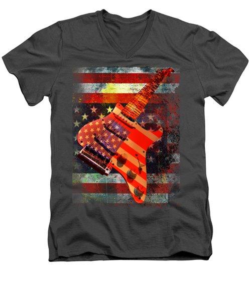 Usa Strat Guitar Music Men's V-Neck T-Shirt