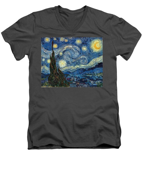 Van Gogh Starry Night Men's V-Neck T-Shirt