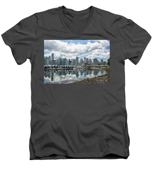 Vancouver Skyline Men's V-Neck T-Shirt by Patricia Hofmeester