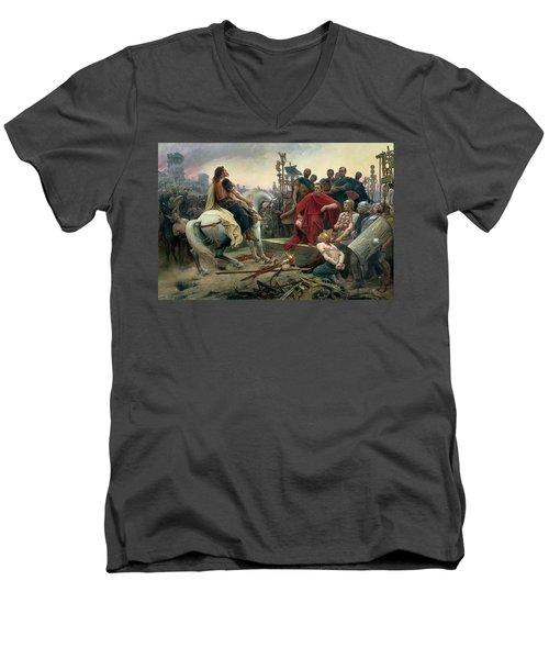 Vercingetorix Throws Down His Arms At The Feet Of Julius Caesar Men's V-Neck T-Shirt