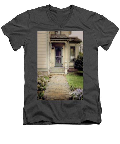 Men's V-Neck T-Shirt featuring the photograph Victorian Porch by Jill Battaglia