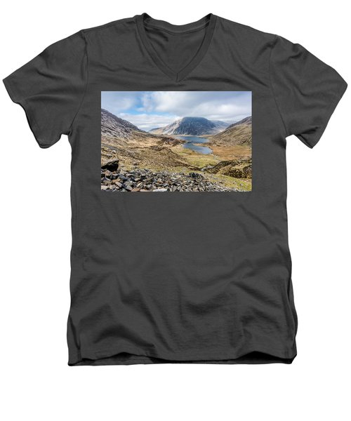 Men's V-Neck T-Shirt featuring the photograph View From Glyder Fawr by Nick Bywater