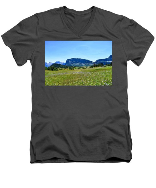 Men's V-Neck T-Shirt featuring the photograph View From Logans Pass by Dacia Doroff
