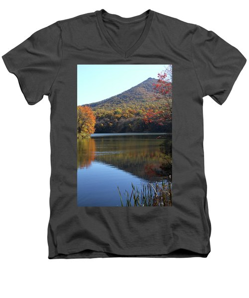View Of Abbott Lake And Sharp Top In Autumn Men's V-Neck T-Shirt by Emanuel Tanjala