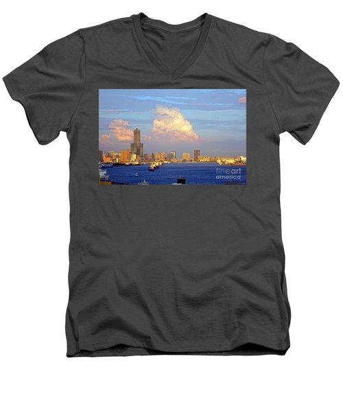 View Of Kaohsiung City At Sunset Time Men's V-Neck T-Shirt by Yali Shi