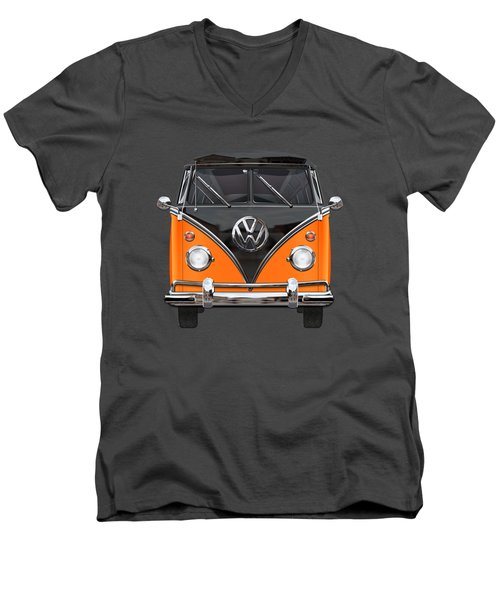 Volkswagen Type 2 - Black And Orange Volkswagen T 1 Samba Bus Over Blue Men's V-Neck T-Shirt by Serge Averbukh