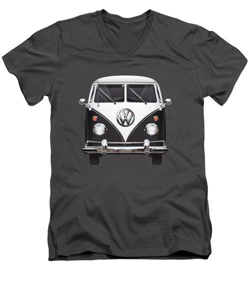 Volkswagen Type 2 - Black And White Volkswagen T 1 Samba Bus On Red  Men's V-Neck T-Shirt