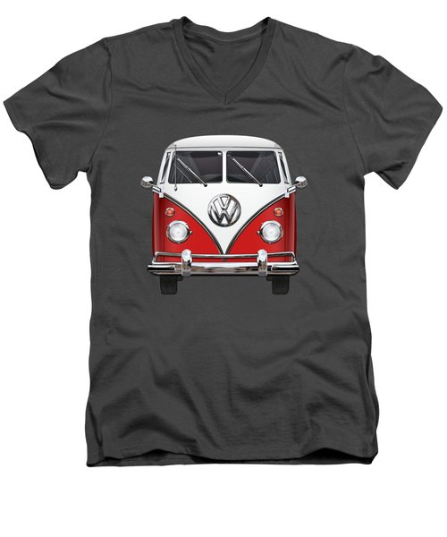 Volkswagen Type 2 - Red And White Volkswagen T 1 Samba Bus Over Green Canvas  Men's V-Neck T-Shirt