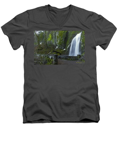 Wahkeena Falls Bridge Signed Men's V-Neck T-Shirt