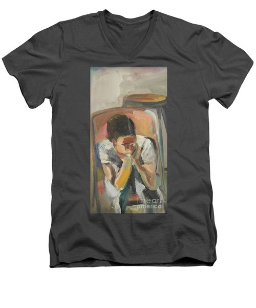 Wait Child Men's V-Neck T-Shirt by Daun Soden-Greene