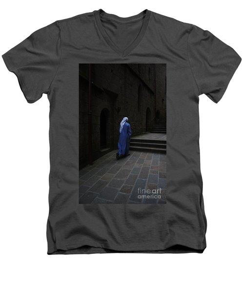 Walk Of Faith Men's V-Neck T-Shirt by Therese Alcorn