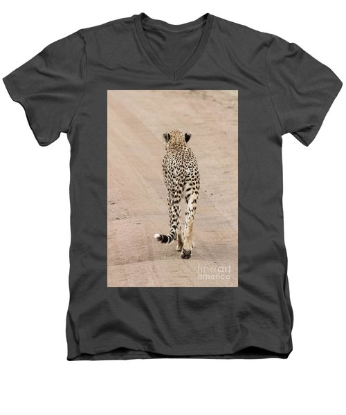 Men's V-Neck T-Shirt featuring the photograph Walking Away by Pravine Chester
