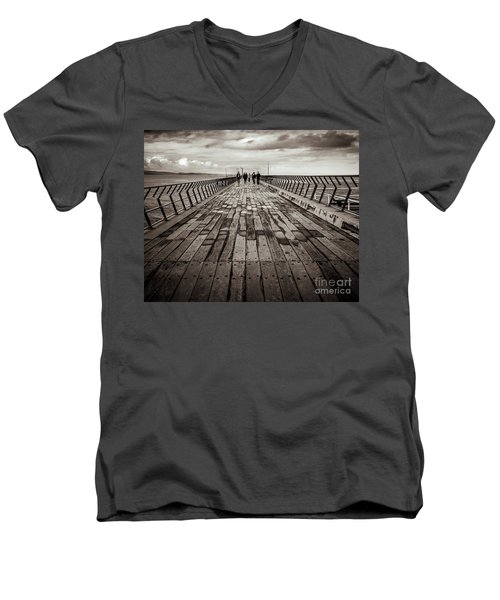 Men's V-Neck T-Shirt featuring the photograph Walking The Pier by Perry Webster