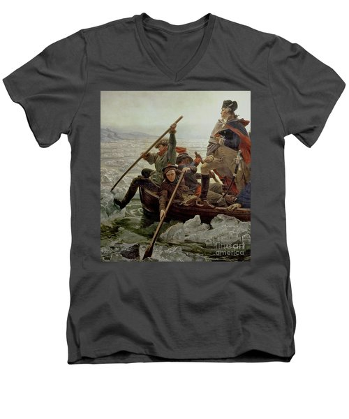 Washington Crossing The Delaware River Men's V-Neck T-Shirt by Emanuel Gottlieb Leutze