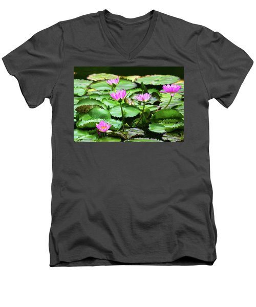 Men's V-Neck T-Shirt featuring the photograph Water Lilies by Anthony Jones