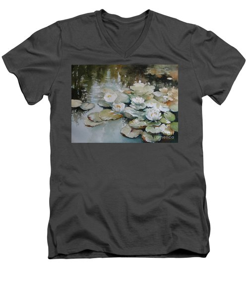Men's V-Neck T-Shirt featuring the painting Waterlilies by Elena Oleniuc