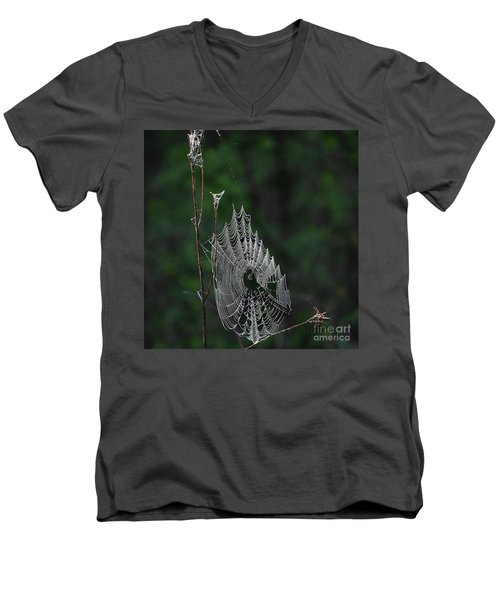 Men's V-Neck T-Shirt featuring the photograph Webs We Weave by Skip Willits