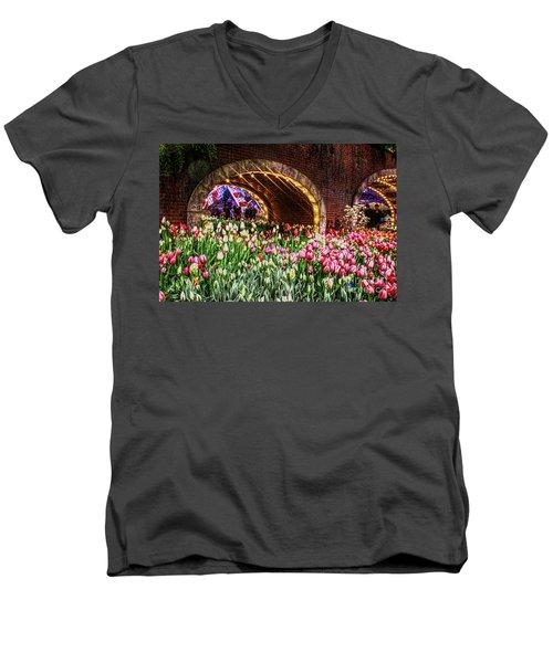 Welcoming Tulips Men's V-Neck T-Shirt by Sandy Moulder