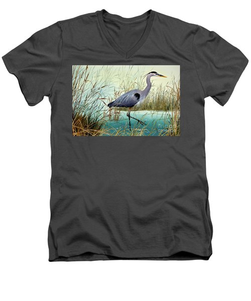 Men's V-Neck T-Shirt featuring the painting Wetland Beauty by James Williamson