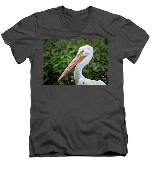 Men's V-Neck T-Shirt featuring the photograph White Pelican by Robert Frederick