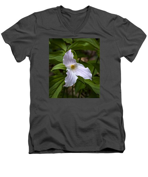 Men's V-Neck T-Shirt featuring the photograph White Trillium by Tyson and Kathy Smith