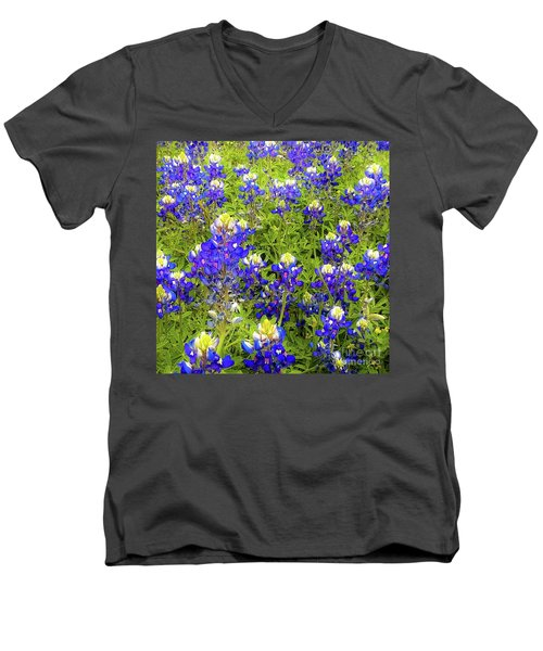 Wild Bluebonnets Blooming Men's V-Neck T-Shirt