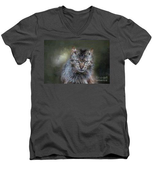 Wild Cat Portrait Men's V-Neck T-Shirt