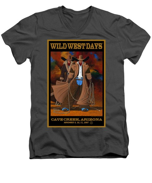 Wild West Days Poster/print  Men's V-Neck T-Shirt by Lance Headlee