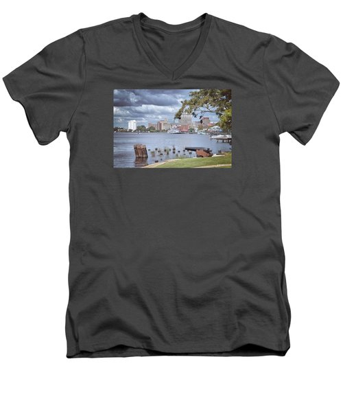Men's V-Neck T-Shirt featuring the photograph Wilmington Riverfront by Phil Mancuso
