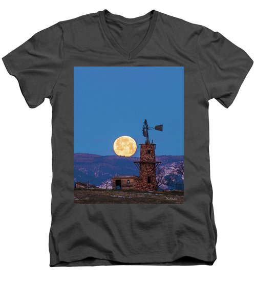 Men's V-Neck T-Shirt featuring the photograph Windmill At Moonset by Tim Kathka