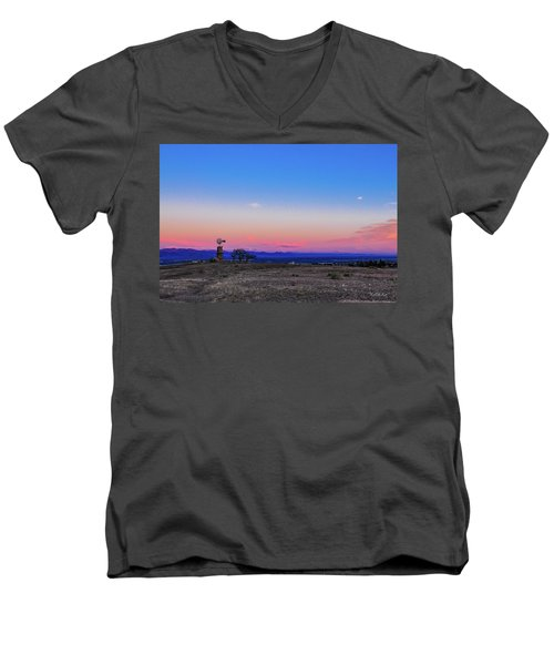 Men's V-Neck T-Shirt featuring the photograph Windmill At Sunrise by Tim Kathka