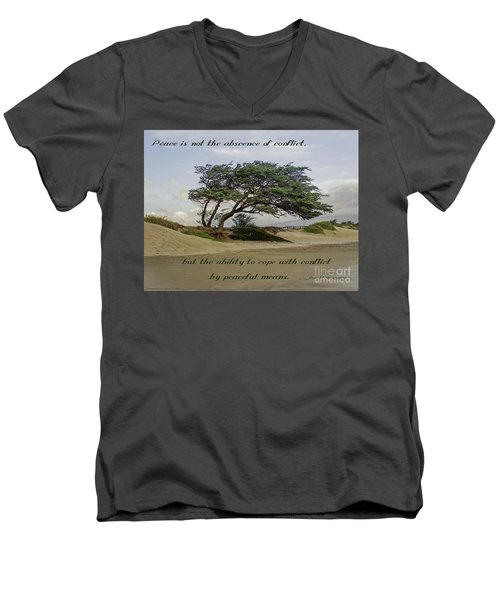 Men's V-Neck T-Shirt featuring the photograph Windy Lean by Gena Weiser