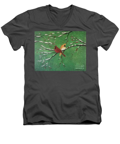 Men's V-Neck T-Shirt featuring the painting Winter Cardinals by Denise Tomasura
