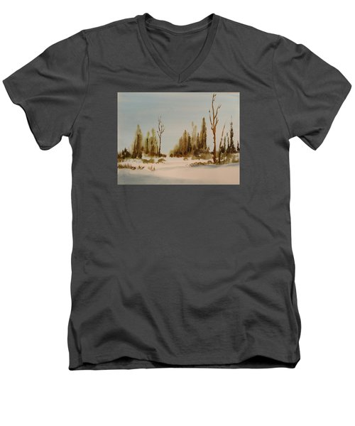 Winter Morning Men's V-Neck T-Shirt by Larry Hamilton