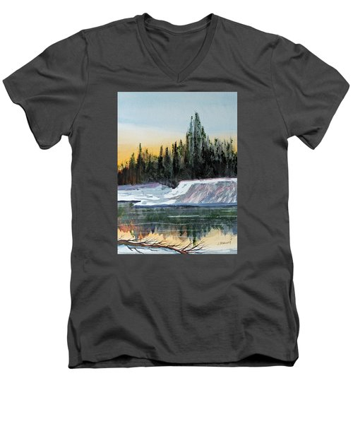 Winter Reflections Men's V-Neck T-Shirt by Jack G  Brauer
