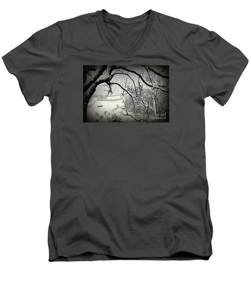 Men's V-Neck T-Shirt featuring the photograph Winter Scene In Switzerland by Susanne Van Hulst