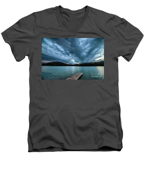 Men's V-Neck T-Shirt featuring the photograph Winter Storm Clouds by Thomas R Fletcher