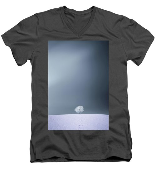 Men's V-Neck T-Shirt featuring the photograph Winter Tree by Bess Hamiti