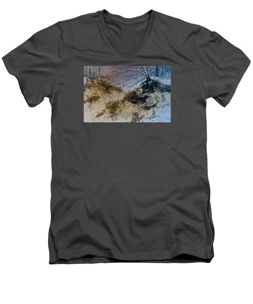 Men's V-Neck T-Shirt featuring the painting Winter's Morn by Carolyn Rosenberger