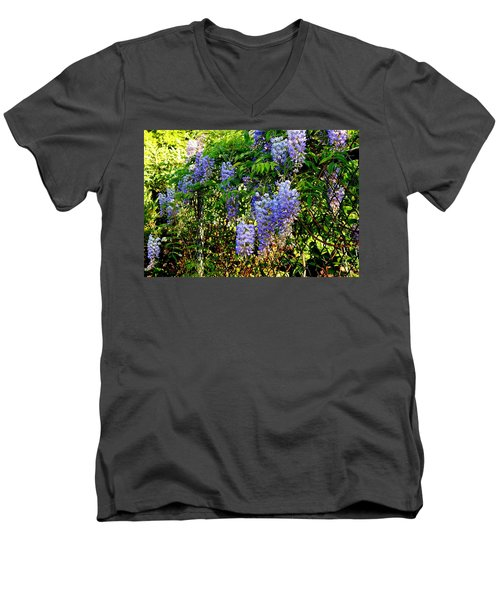 Men's V-Neck T-Shirt featuring the photograph Wisteria by Betty-Anne McDonald