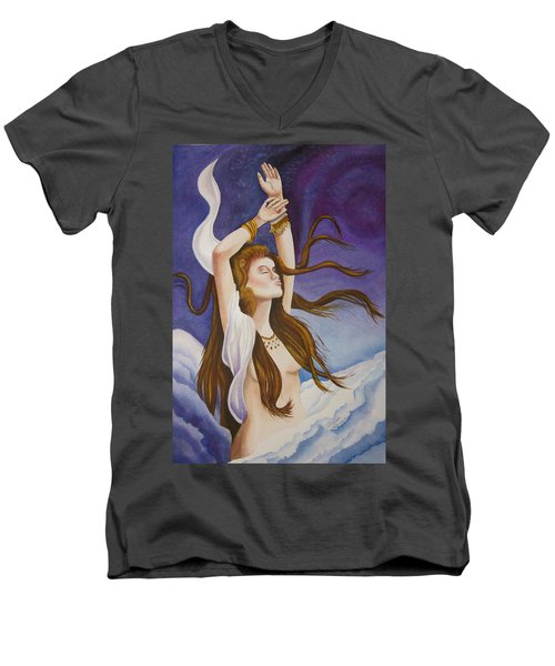 Men's V-Neck T-Shirt featuring the painting Woman Unleashed by Teresa Beyer