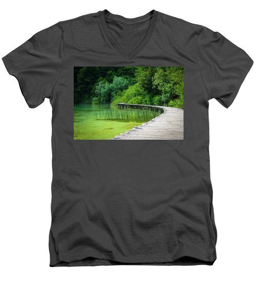 Wooden Path In The Forest Men's V-Neck T-Shirt