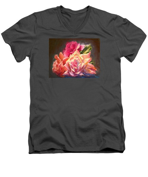 Yellow And Pink Roses Men's V-Neck T-Shirt