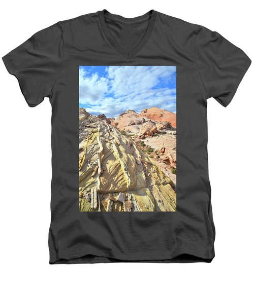 Yellow Brick Road In Valley Of Fire Men's V-Neck T-Shirt by Ray Mathis