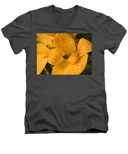 Yellow Lily Men's V-Neck T-Shirt by Kay Gilley