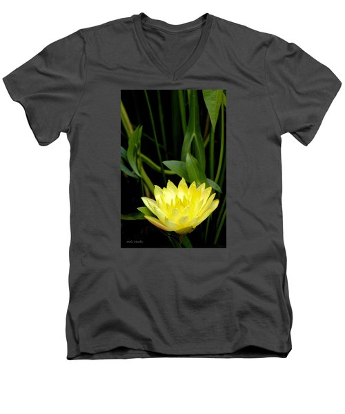 Men's V-Neck T-Shirt featuring the photograph Yellow Lotus by Debra     Vatalaro